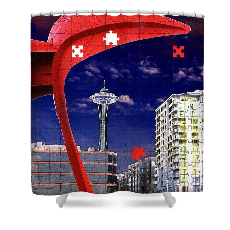 Seattle Shower Curtain featuring the digital art Eagle Needle by Tim Allen