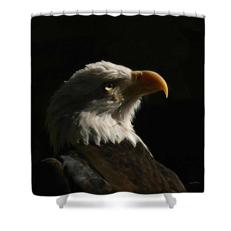 Animal Shower Curtain featuring the photograph Eagle Profile 4 by Ernie Echols