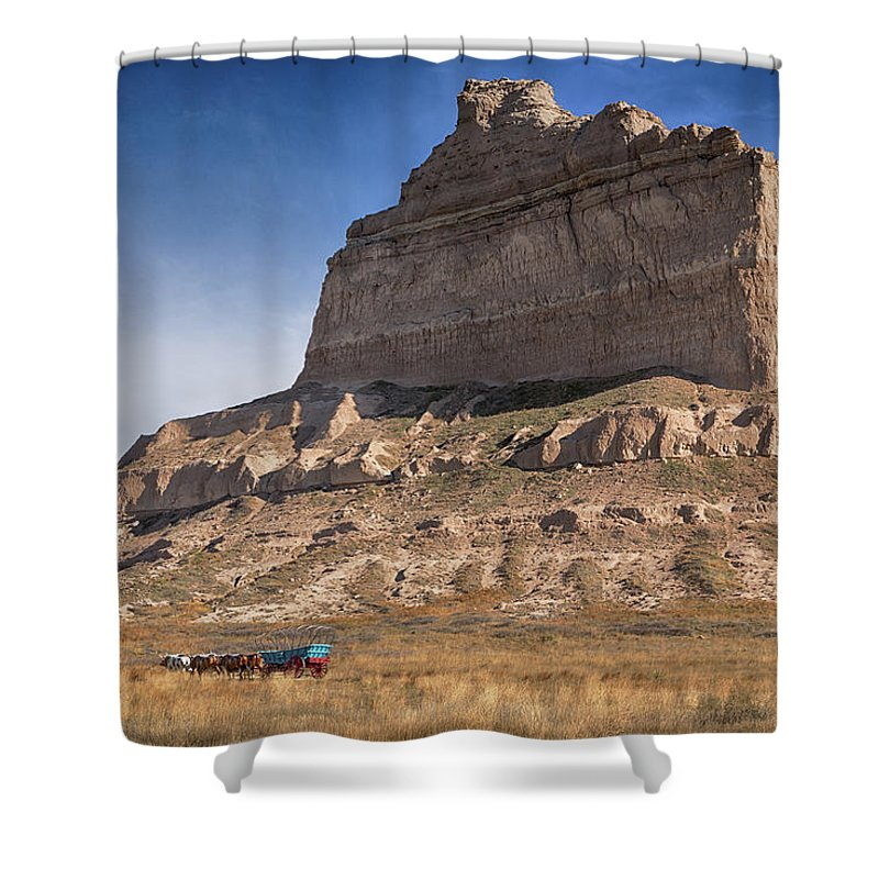 Scotts Bluff Shower Curtain featuring the photograph Eagle Rock by Susan Rissi Tregoning