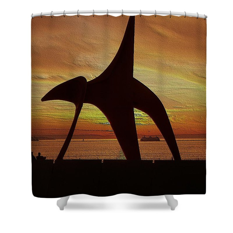 Seattle Shower Curtain featuring the digital art Eagle Sunset Over Elliott Bay by Tim Allen