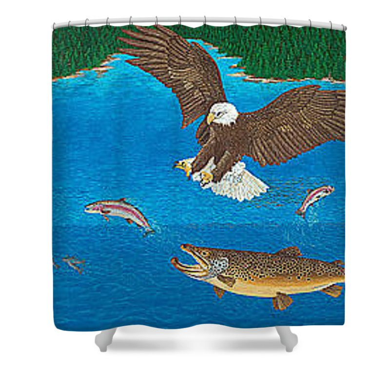 Art Print Prints Giclee Canvas Framed Brown Trout Eagle Lake Mountain Forest Nature Wildlife Wall Shower Curtain featuring the painting Eagle Trophy Brown Trout Rainbow Trout Art Print Blue Mountain Lake Artwork Giclee Birds Wildlife by Baslee Troutman