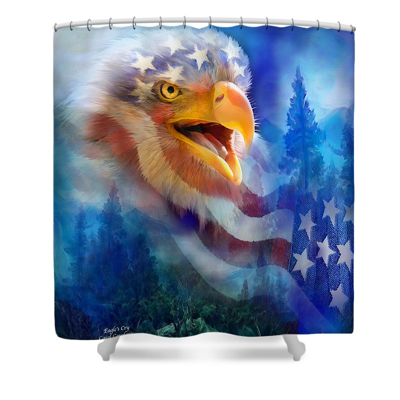Carol Cavalaris Shower Curtain featuring the mixed media Eagle's Cry by Carol Cavalaris