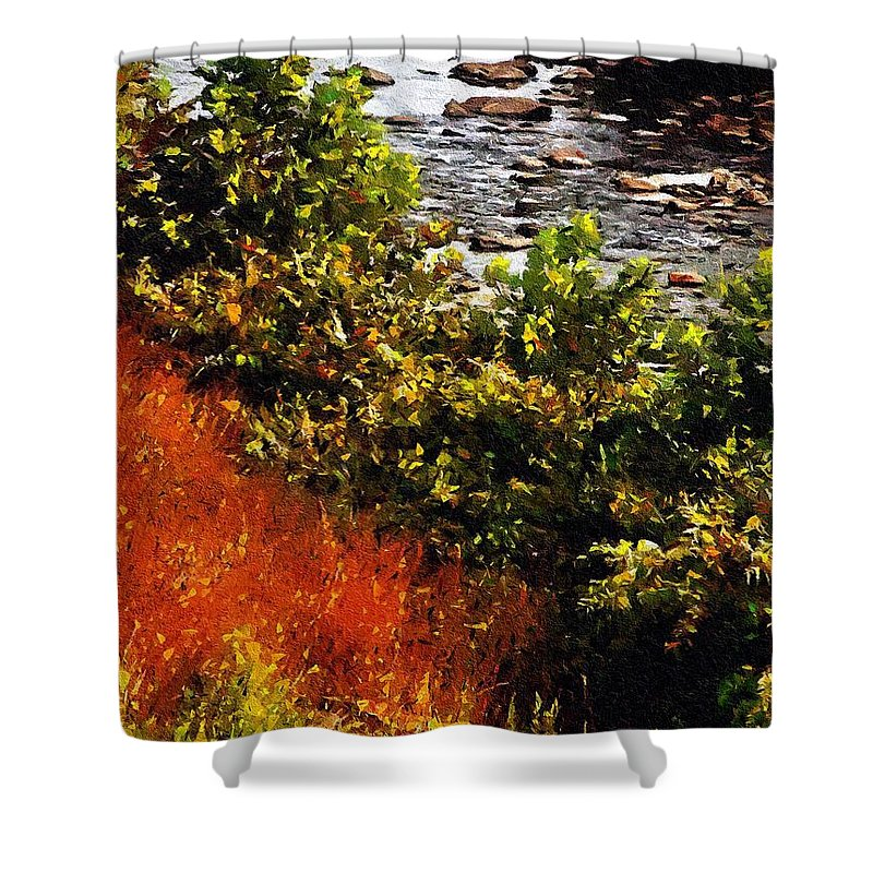 River Shower Curtain featuring the painting Early Autumn Along The Naugatuck by RC DeWinter