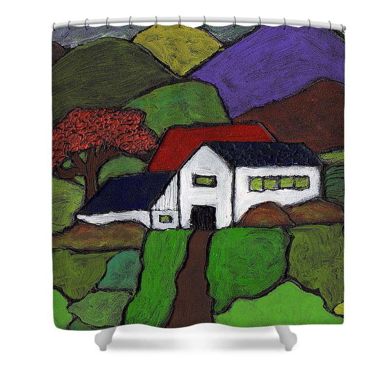 Farm Shower Curtain featuring the painting Early Autumn by Wayne Potrafka