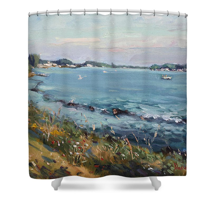 Evening Shower Curtain featuring the painting Early Evening at Gratwick Waterfront Park by Ylli Haruni