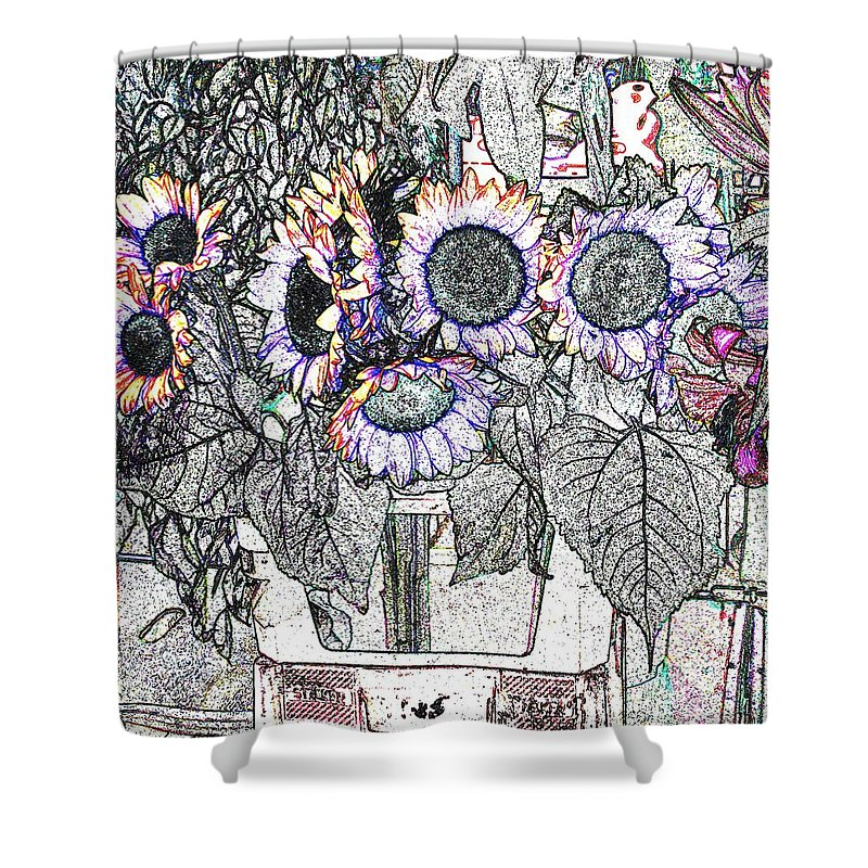 Flower Shower Curtain featuring the digital art Early Flower Study by Ian MacDonald