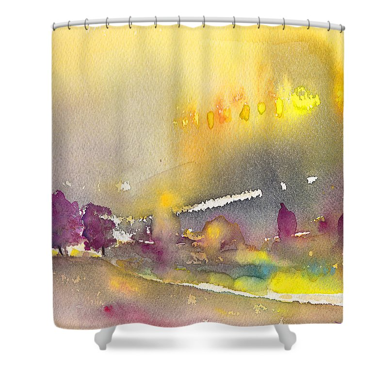 Landscapes Shower Curtain featuring the painting Early Morning 21 by Miki De Goodaboom