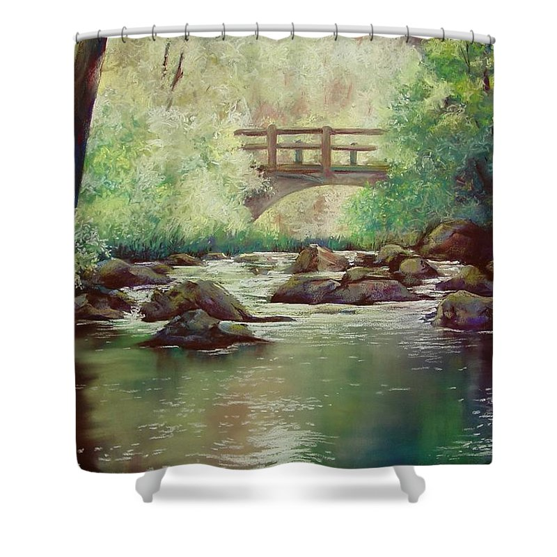 Landscape Shower Curtain featuring the pastel Early Morning at Gulpha Gorge by Marlene Gremillion