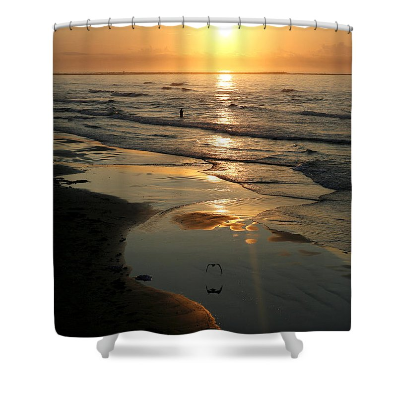 Water Shower Curtain featuring the photograph Early Morning Fishing by Marilyn Hunt