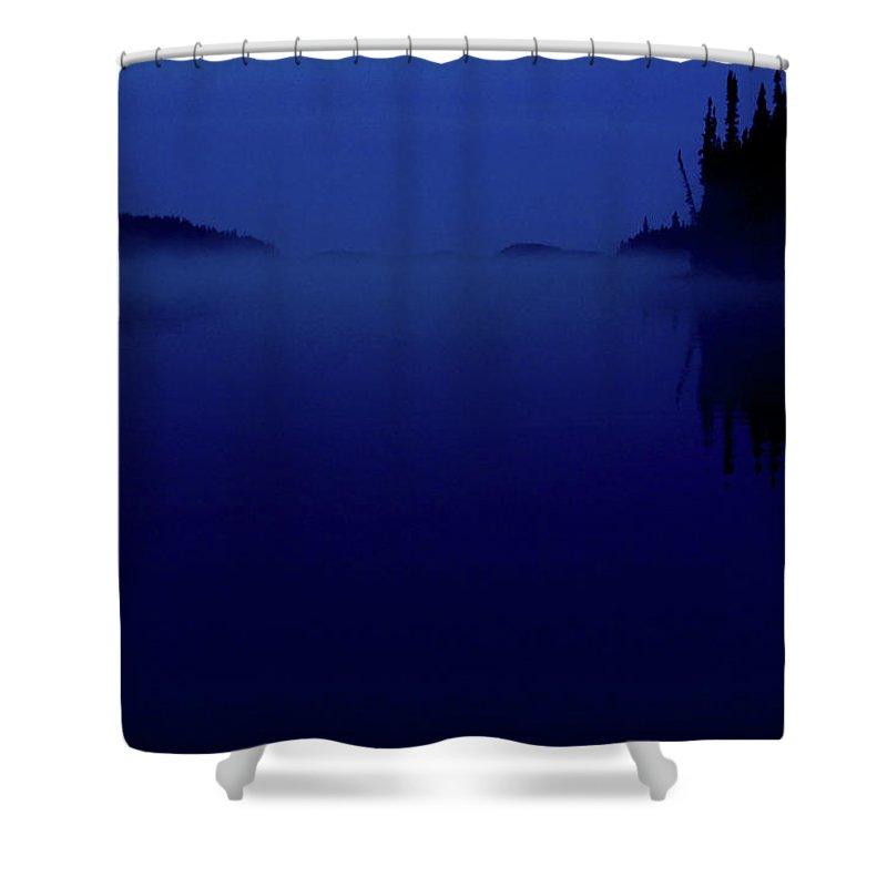 Dark Shower Curtain featuring the digital art Early Morning Mist Over Lynx Lake In Northern Saskatchewan by Mark Duffy