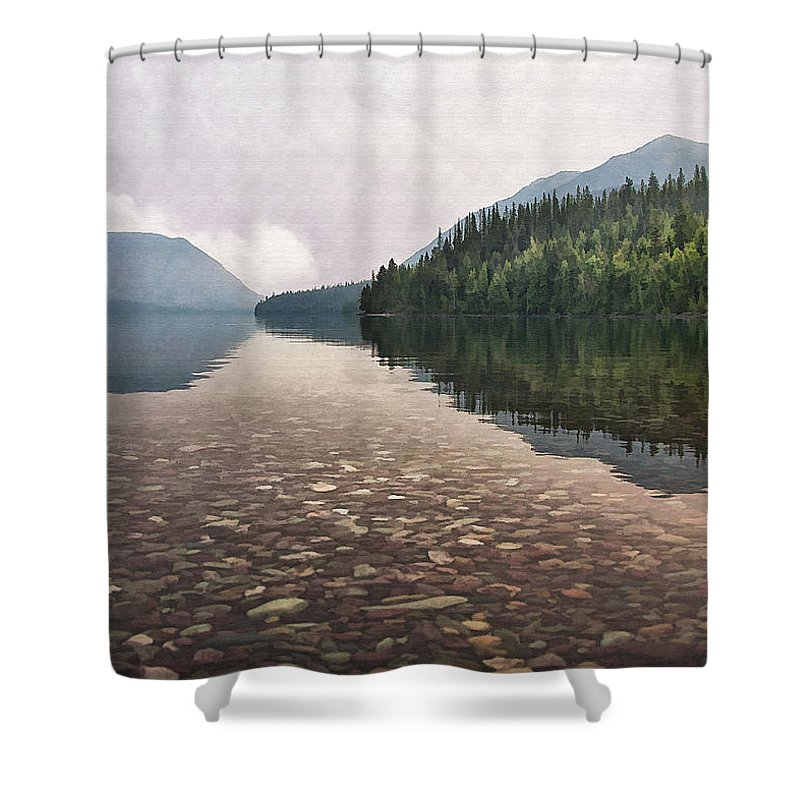 Landscape Shower Curtain featuring the digital art Early Morning On Lake Mcdonald II by Sharon Foster