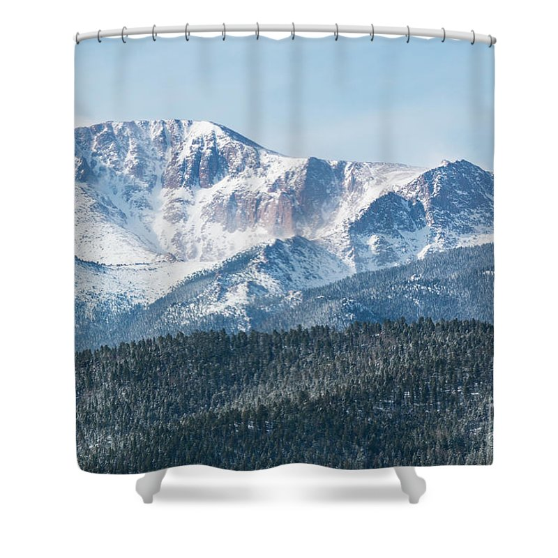 Pikes Peak Shower Curtain featuring the photograph Early Morning Snow On Pikes Peak by Steve Krull