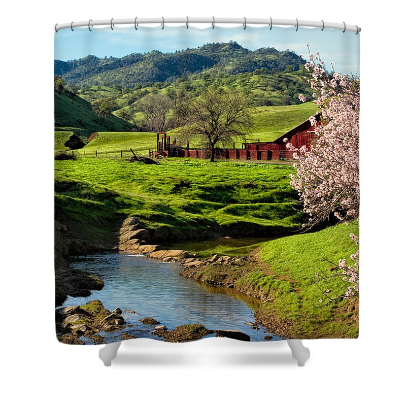 Farm Shower Curtain featuring the photograph Early Spring In The Valley by Kathleen Bishop