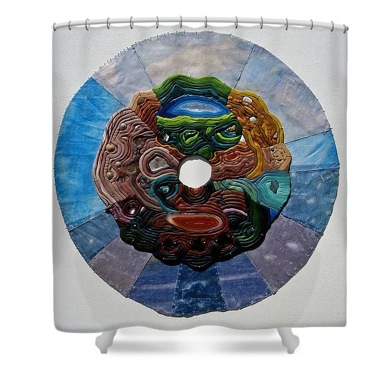 Mandala Shower Curtain featuring the relief Earth And Sky by Arla Patch