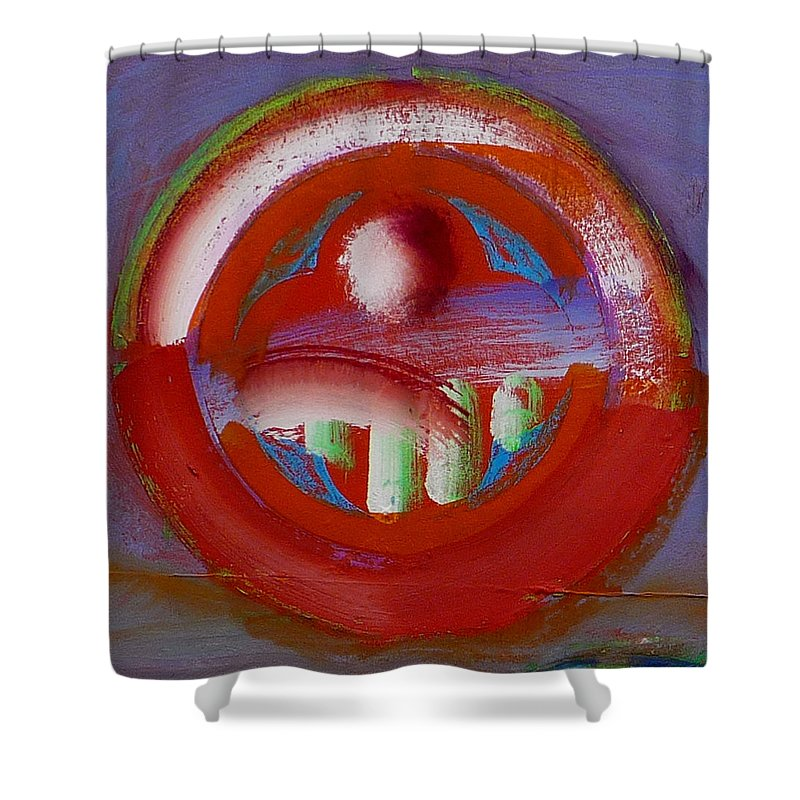 Love Shower Curtain featuring the painting Earth Button by Charles Stuart