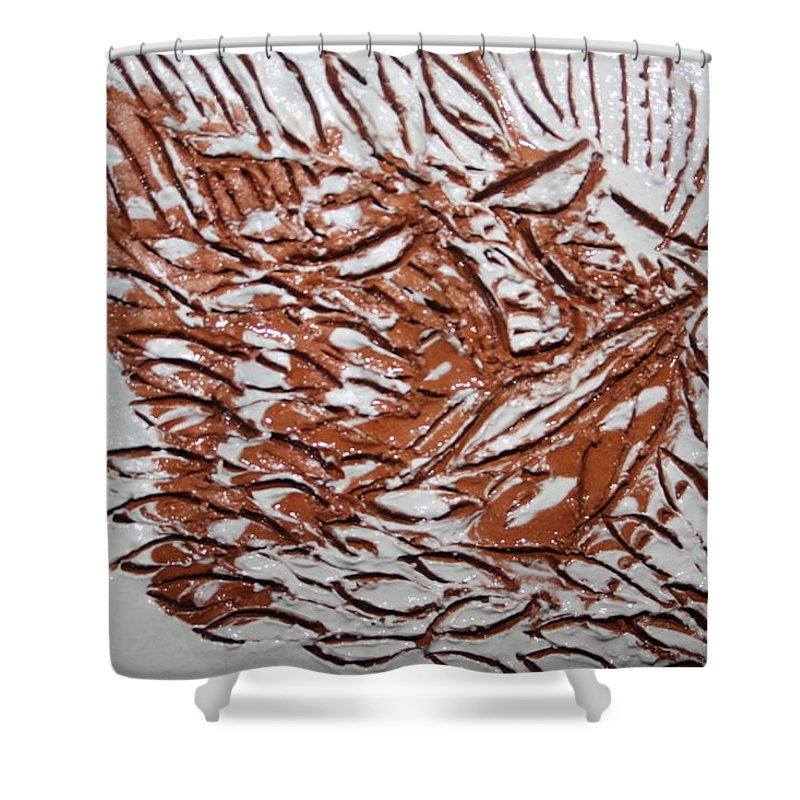 Jesus Shower Curtain featuring the ceramic art Earth Father - Tile by Gloria Ssali