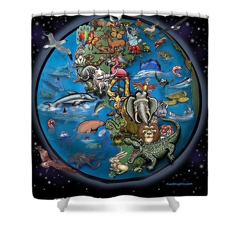 Earth Shower Curtain featuring the painting Earth by Kevin Middleton