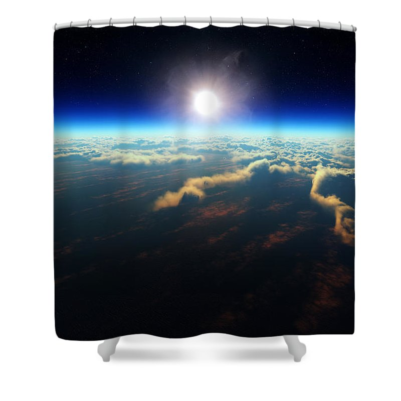 Earth Shower Curtain featuring the digital art Earth Sunrise From Outer Space by Johan Swanepoel