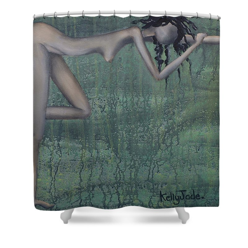 Earth Shower Curtain featuring the painting Earth Woman by Kelly Jade King