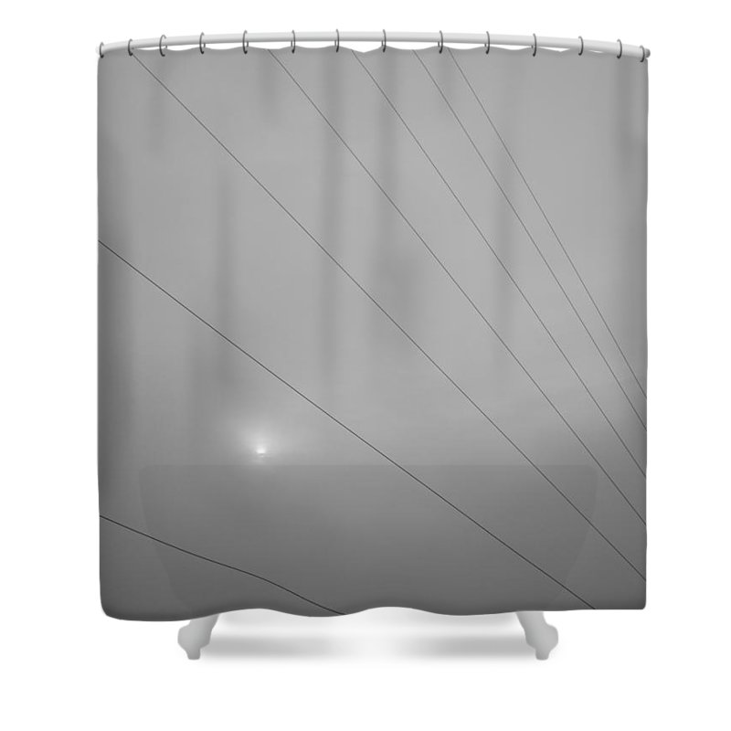 Earths Guy Wires Shower Curtain featuring the photograph Earths Guy Wires by Ed Smith