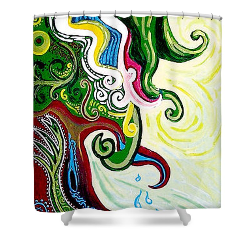 Mother Earth Shower Curtain featuring the painting Earths Tears by Genevieve Esson