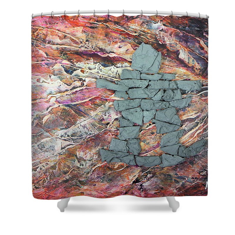 Shower Curtain featuring the painting Earthwaves Inukshuk by Madeleine Arnett