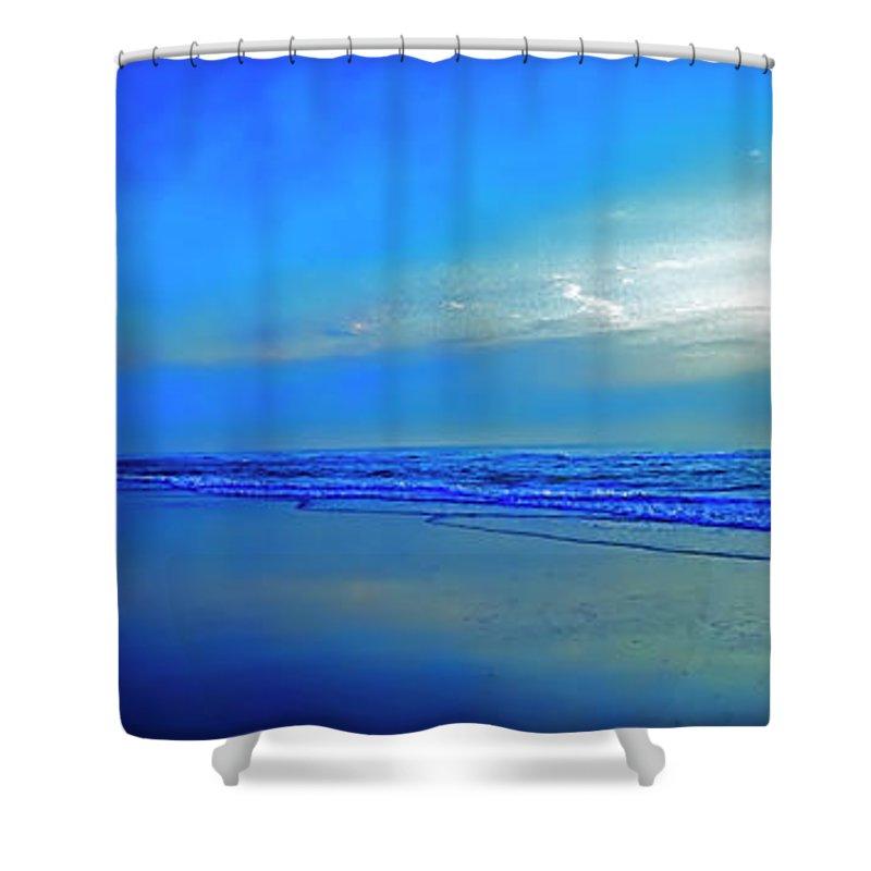 East Shower Curtain featuring the photograph East Coast Florida Daytona Beach Morning Walkers  by Tom Jelen