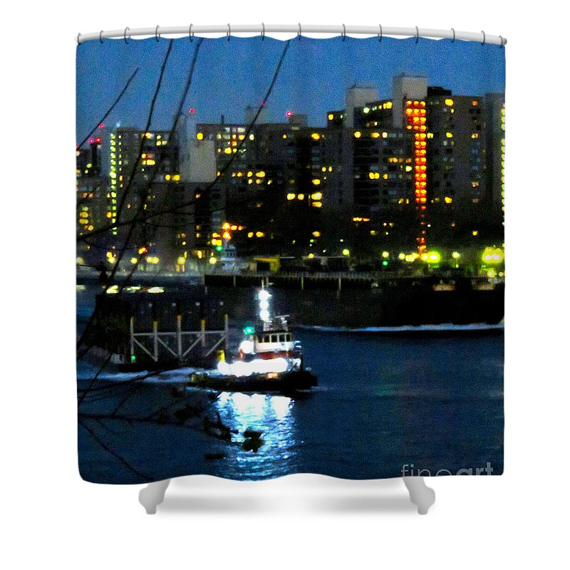 East River Shower Curtain featuring the photograph East River Traffic 2 New York by Ken Lerner