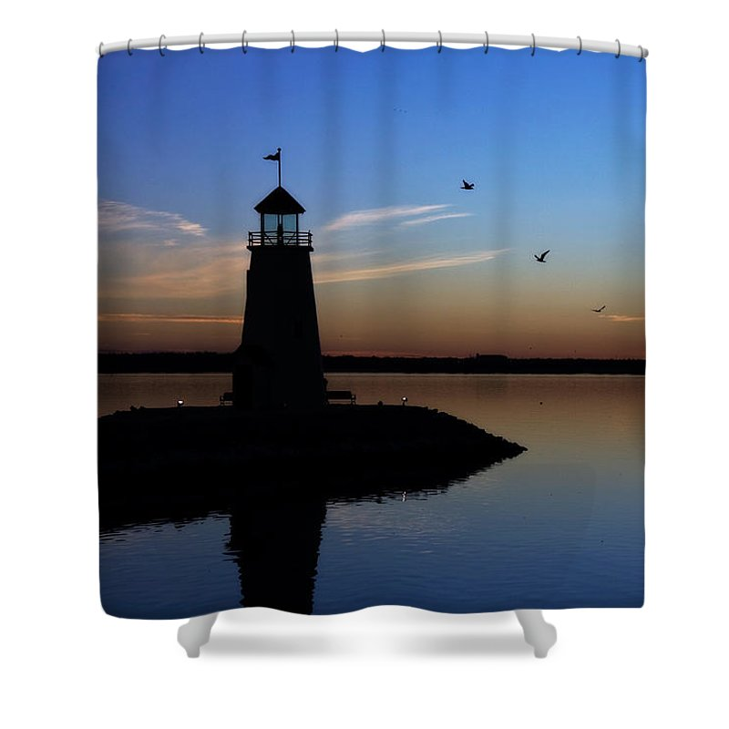 east Warf Lighthouse Shower Curtain featuring the photograph East Warf Sunset by Lana Trussell