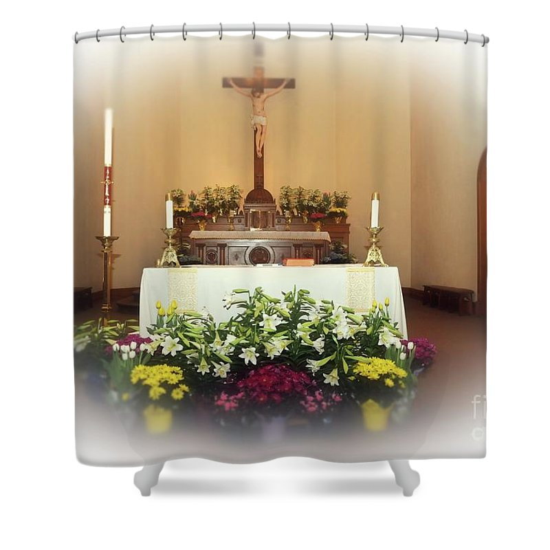Easter Shower Curtain featuring the photograph Easter Alter by Kathleen Struckle
