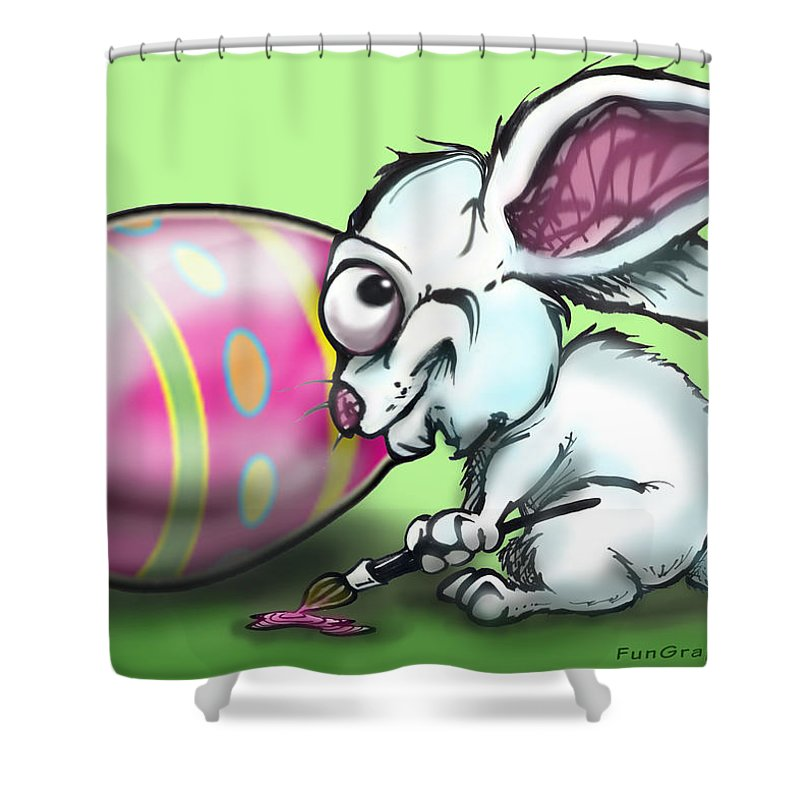 Easter Shower Curtain featuring the digital art Easter Bunny by Kevin Middleton