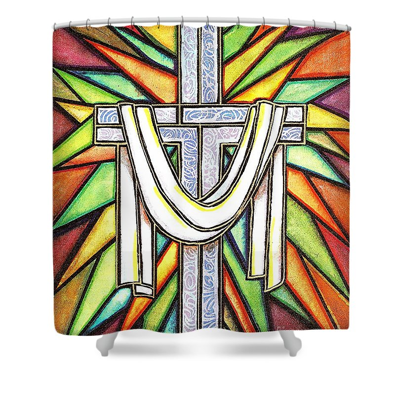Cross Shower Curtain featuring the painting Easter Cross 5 by Jim Harris