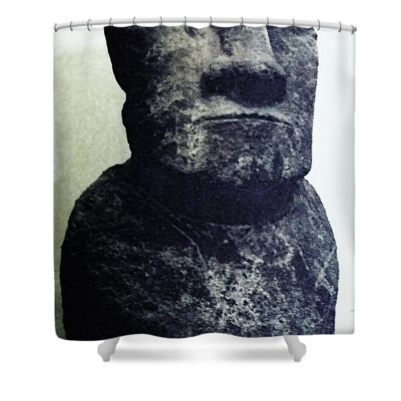 Easter Island Shower Curtain featuring the painting Easter Island Stone Statue by Eric Schiabor