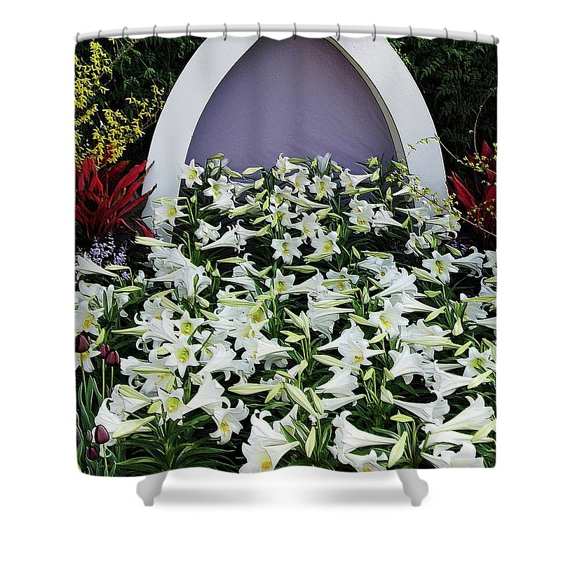 Spring Shower Curtain featuring the photograph Easter Lillies by Kathleen Struckle