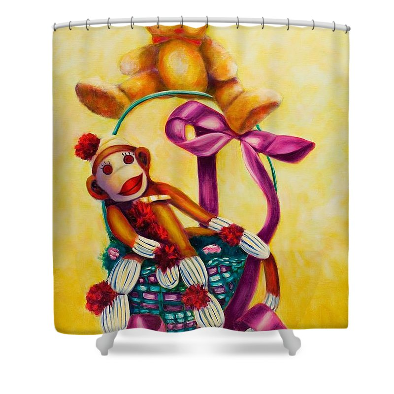 Easter Shower Curtain featuring the painting Easter Made Of Sockies by Shannon Grissom