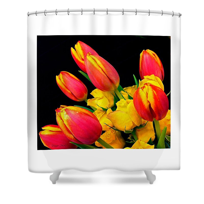 Tulip Shower Curtain featuring the photograph Easter Tulips And Roses by Marie Hicks