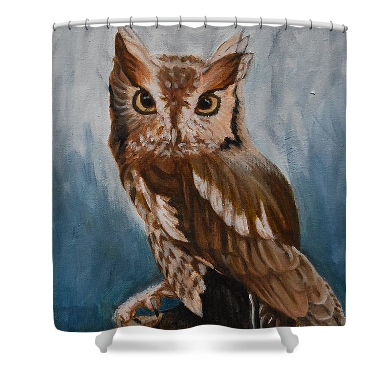 Oil Shower Curtain featuring the painting Eastern Screech Owl by Marta Kazmierska