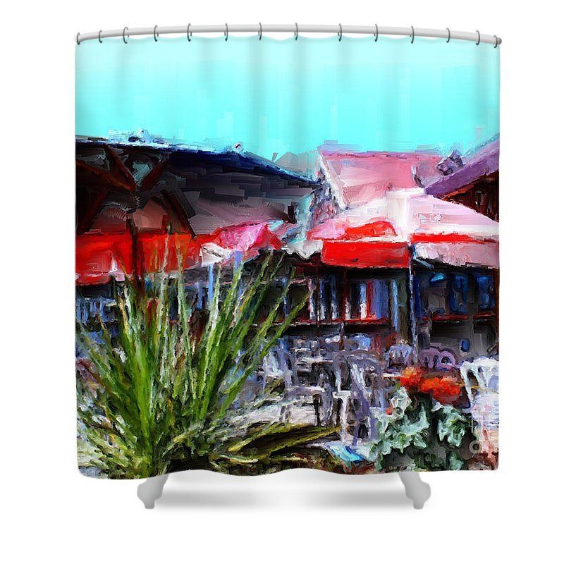 Eat At Joe's Shower Curtain featuring the painting Eat At Joe's by Methune Hively