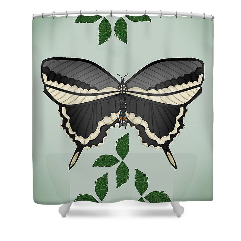 Butterfly Shower Curtain featuring the painting Ebony And Ivory by Anne Norskog