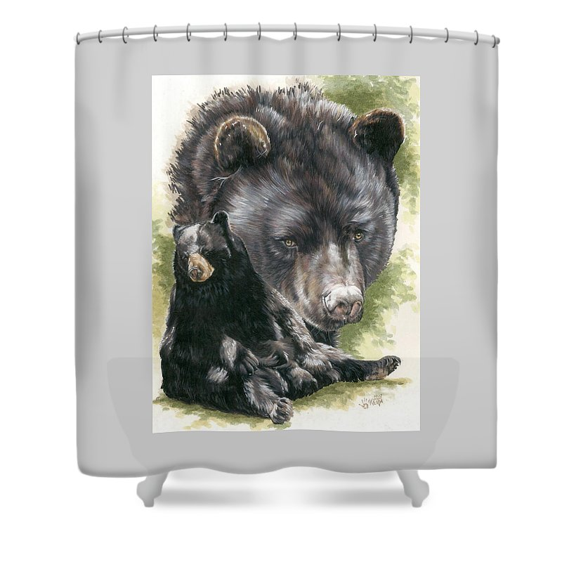 Black Bear Shower Curtain featuring the mixed media Ebony by Barbara Keith