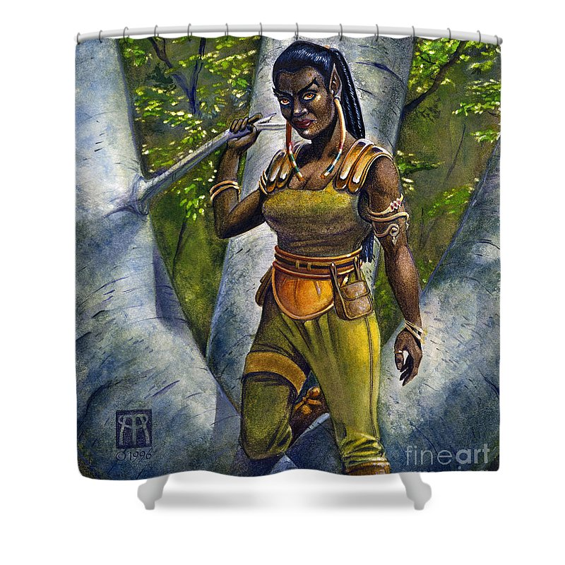 Elf Shower Curtain featuring the painting Ebony Elf by Melissa A Benson