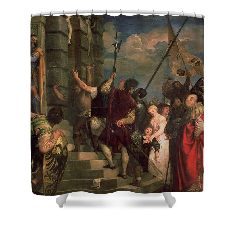 Titian Shower Curtain featuring the painting Ecce Homo, 1543 by Titian