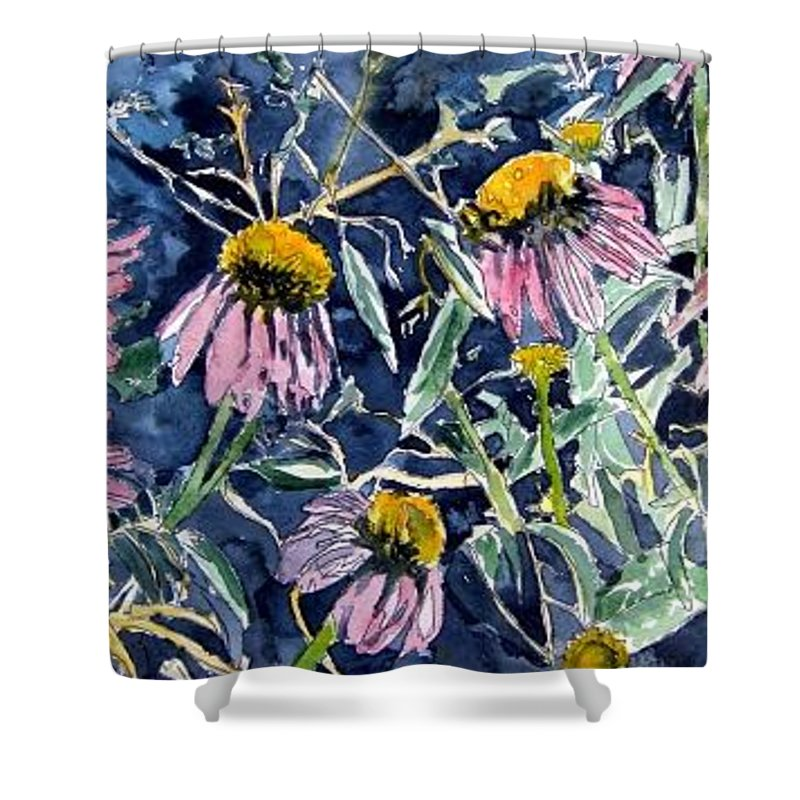 Echinacea Shower Curtain featuring the painting Echinacea Cone Flower Art by Derek Mccrea