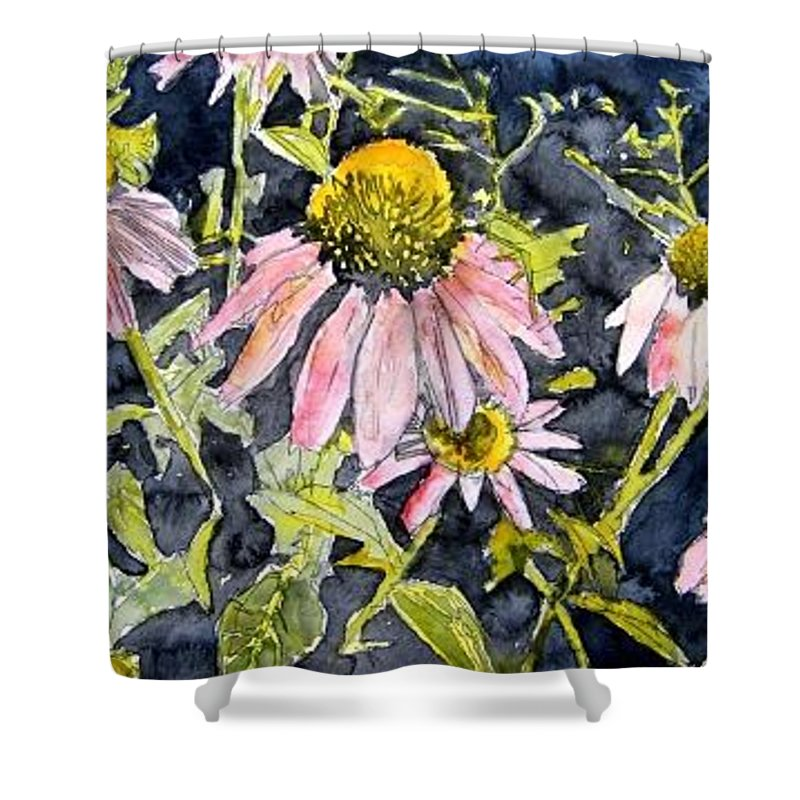 Echinacea Shower Curtain featuring the painting Echinacea Coneflower 2 by Derek Mccrea