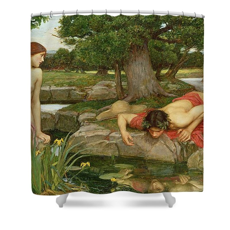 John William Waterhouse Shower Curtain featuring the painting Echo And Narcissus by John William Waterhouse