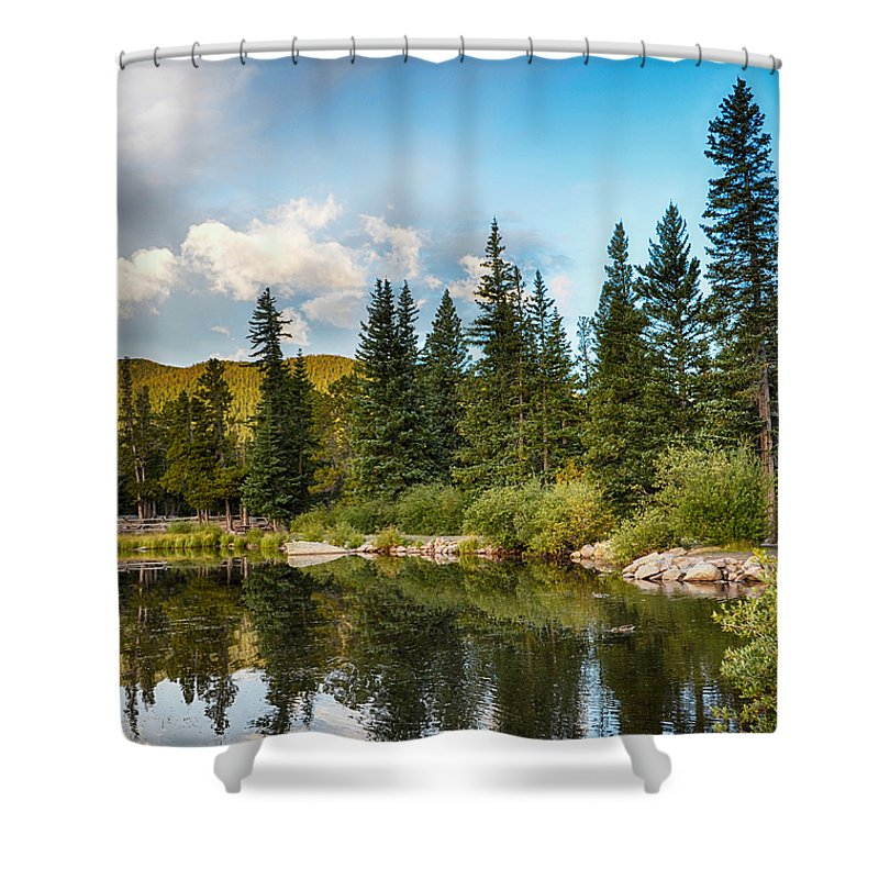 Mount Evans Shower Curtain featuring the mixed media Echo Lake 2 by Angelina Vick