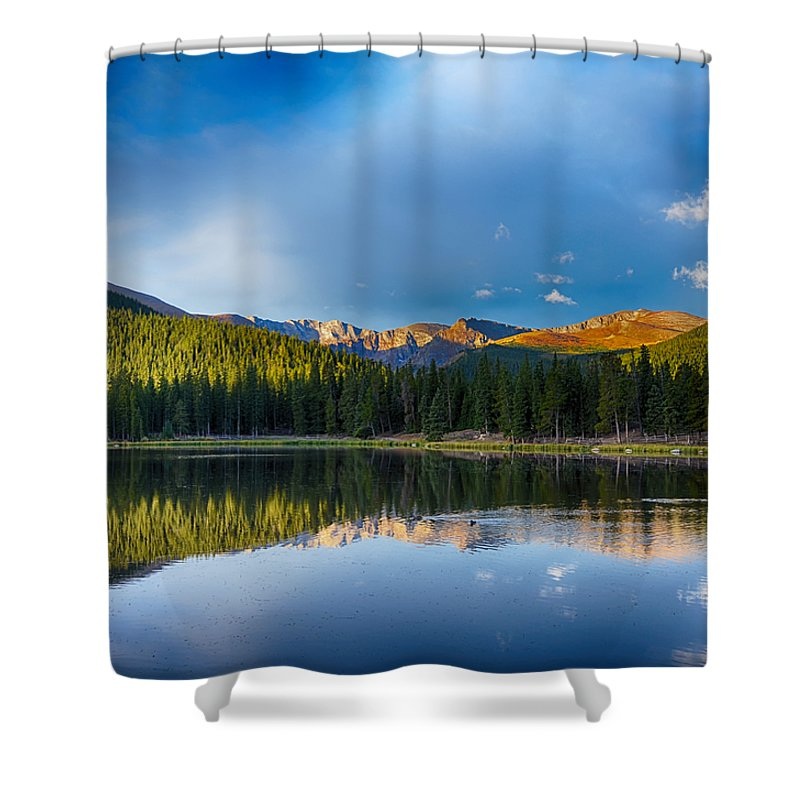 Mount Evans Shower Curtain featuring the mixed media Echo Lake 4 by Angelina Vick