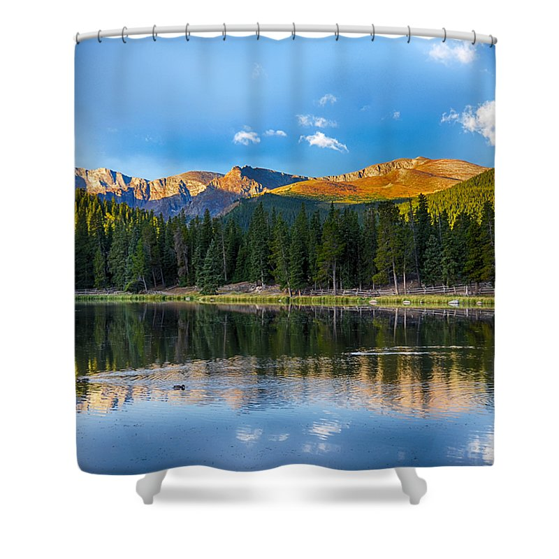 Mount Evans Shower Curtain featuring the mixed media Echo Lake 5 by Angelina Vick
