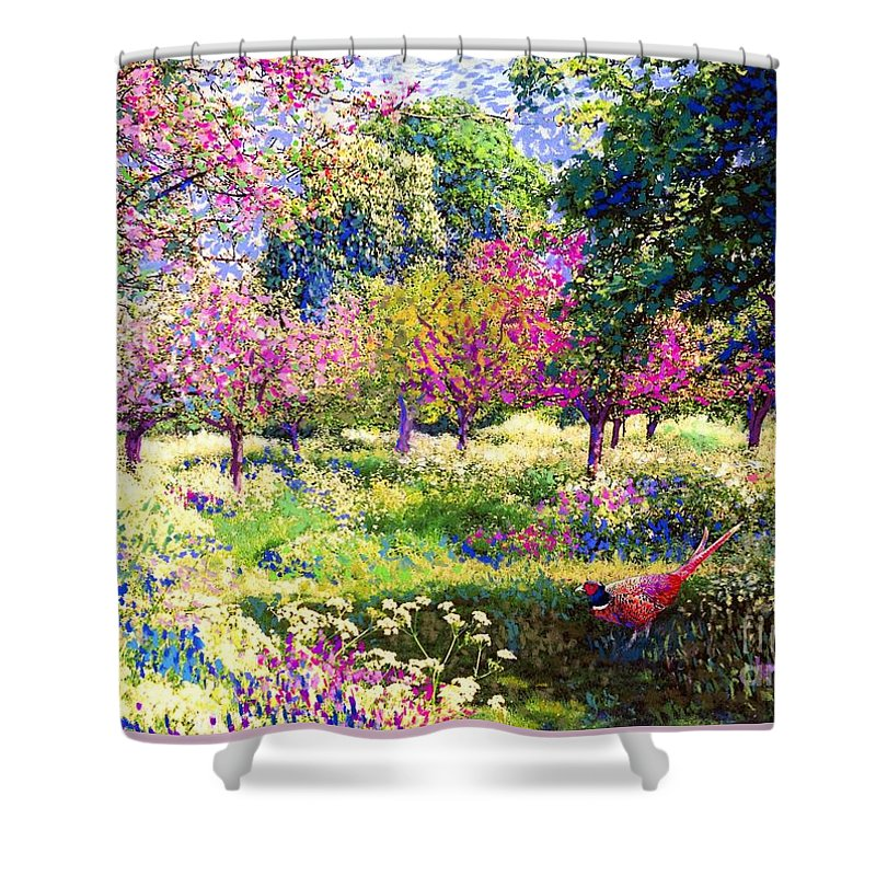 Floral Shower Curtain featuring the painting Echoes from Heaven, Spring Orchard Blossom and Pheasant by Jane Small