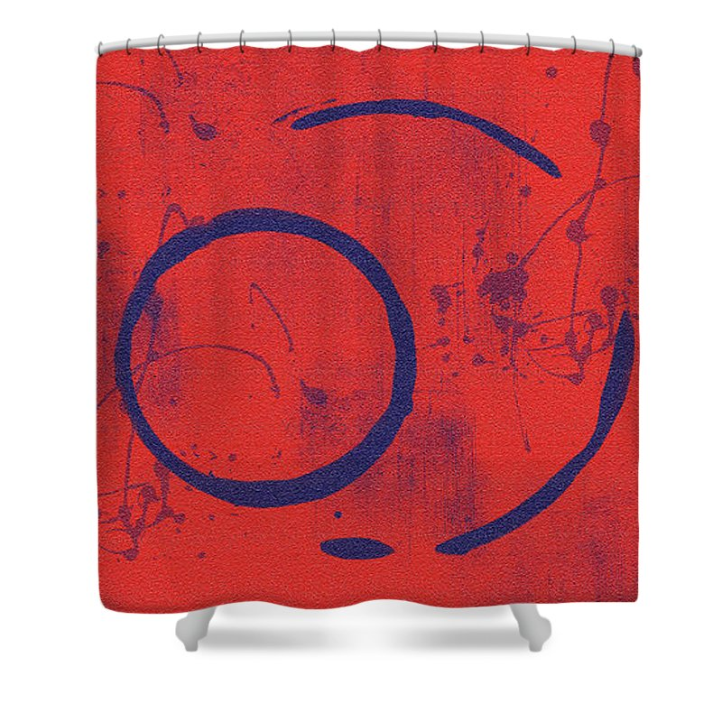 Red Shower Curtain featuring the painting Eclipse II by Julie Niemela
